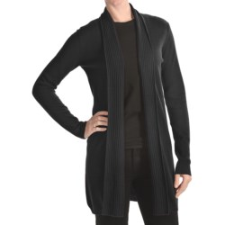 Forte Cashmere Long Open Cardigan Sweater - 2-Ply, 12-Gauge, Texture Trim (For Women)