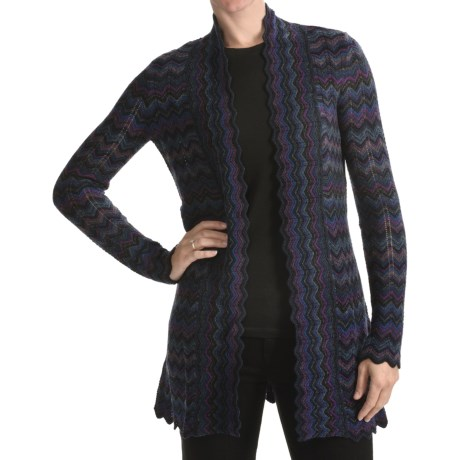 Forte Cashmere Pattern Play Long Cardigan Sweater - 2-Ply, 10-Gauge (For Women)