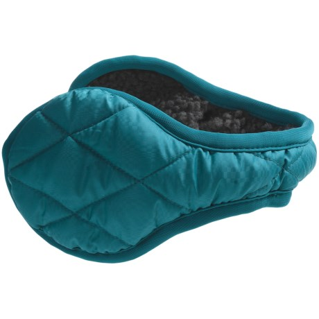 180s Quilted Down Ear Warmers - Insulated, Faux-Fur Lining (For Women)