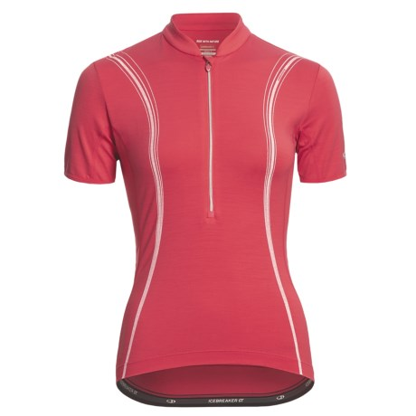 Icebreaker GT Bike Halo Cycling Jersey - Merino Wool, Zip Neck, Short Sleeve (For Women)