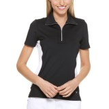 Callaway Color-Blocked Polo Shirt - UPF 15+, Zip Neck, Short Sleeve (For Women)