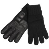 Cire by Grandoe Preppie Gloves - Cashmere Knit, Sheepskin Leather Palm (For Men)
