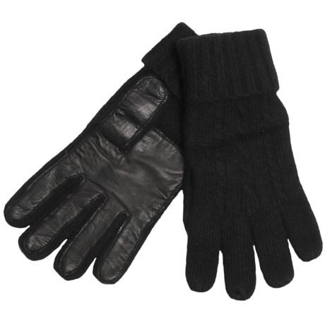 Cire by Grandoe Preppie Gloves - Cashmere Knit, Sheepskin Leather Palm (For Men)