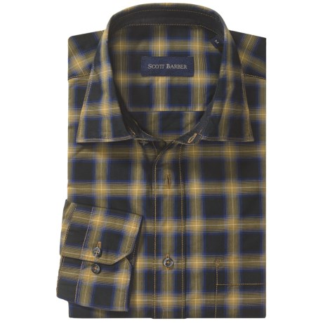 Scott Barber Gregory Plaid Sport Shirt - Spread Collar, Long Sleeve (For Men)
