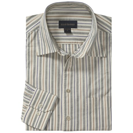 Scott Barber Christopher Fancy Stripe Sport Shirt - Long Sleeve (For Men)