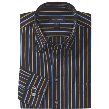 Scott Barber Fancy Stripe Sport Shirt - Cotton Twill, Long Sleeve (For Men)
