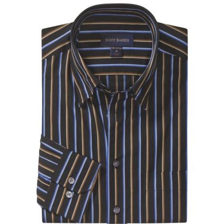 Scott Barber Fancy Stripe Sport Shirt - Cotton Twill, Long Sleeve (For Men)
