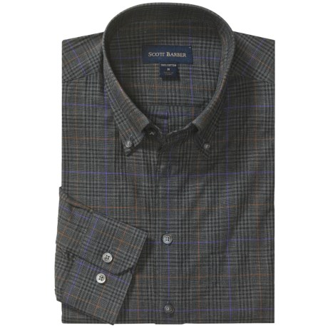 Scott Barber Melange Check Sport Shirt - Cotton, Long Sleeve (For Men)