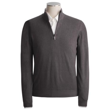 Scott Barber Vintage-Dyed Cotton Sweater - Mock Zip (For Men)