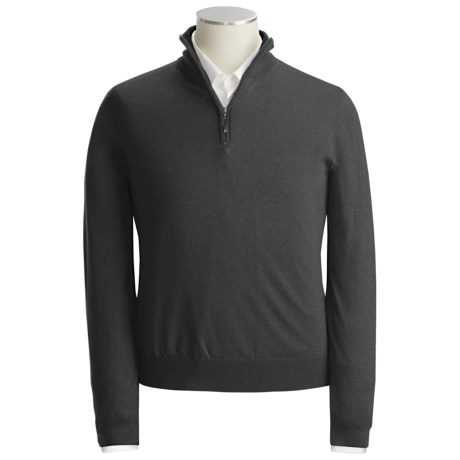 Scott Barber Extra-Fine Merino Wool Sweater - Mock Zip (For Men)