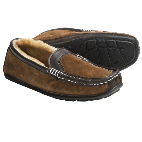 Lamo Halifax Slippers - Leather-Suede, Sheepskin Lining (For Men)