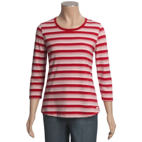 Blue Willi's Striped Cotton T-Shirt - 3/4 Sleeve (For Women)