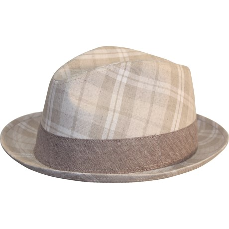 Cov-ver Cov-Ver Linen Check Fedora Hat - Satin Lining (For Men and Women)