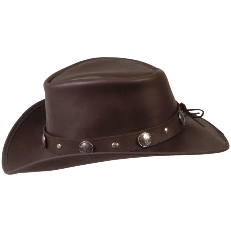 Cov-Ver Outback Hat - Oiled Buffalo Hide, Buffalo Coin Band (For Men and Women)
