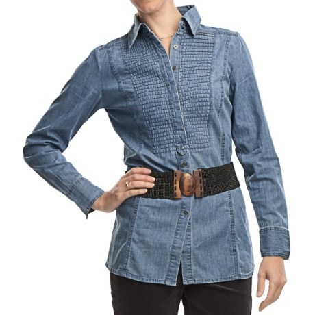FDJ French Dressing Denim Pleated Panel Tunic Shirt - Long Sleeve (For Women)