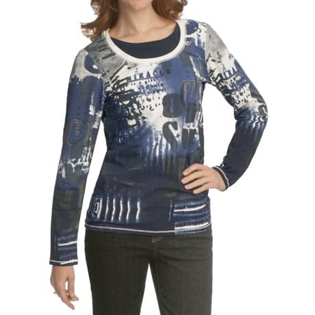 FDJ French Dressing Dialogue Print Fooler T-Shirt - Stretch Cotton Jersey, Long Sleeve (For Women)