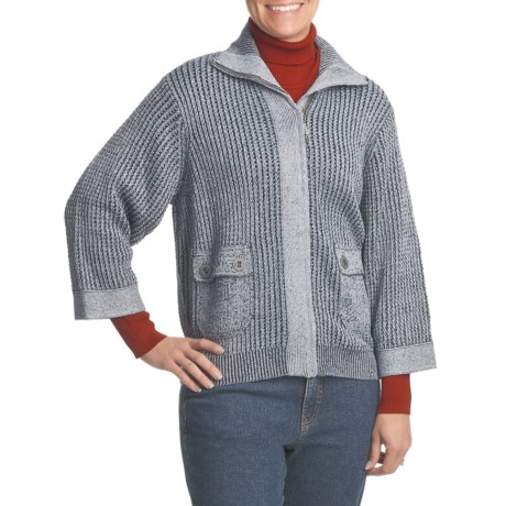 FDJ French Dressing Bomber-Style Sweater - Cotton Knit, 3/4 Sleeve (For Women)