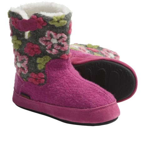 Acorn Daisy Boot Slippers - Fleece Lining (For Girls)