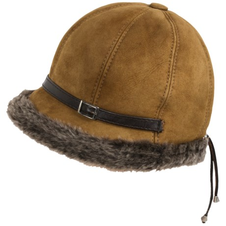 Aston Leather Elegant Shearling Sheepskin Hat - Lambskin Trim (For Women)