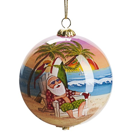 Zhen Zhu Santa's Vacation Ornament - Hand-Painted Glass