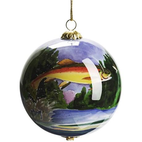 Zhen Zhu Rainbow Trout Ornament - Hand-Painted Glass