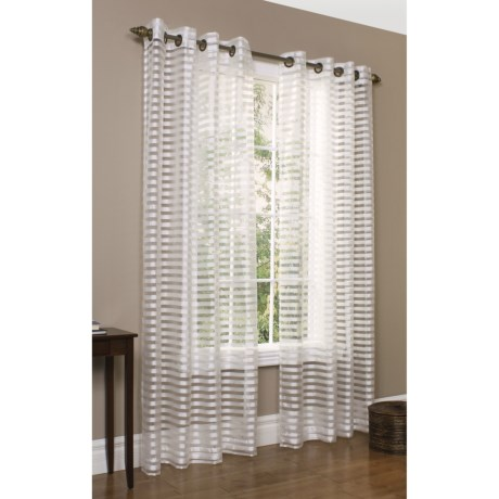 """Commonwealth Home Fashions Sheer Horizontal Stripe Curtains - 112x84"""", Grommet-Top"""