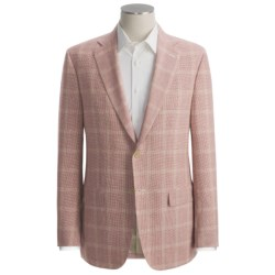 Isaia Mini Houndstooth with Windowpane Overlay Sport Coat - Linen-Wool (For Men)