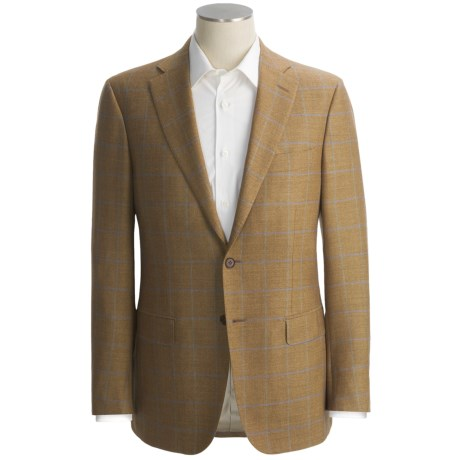 Isaia Nailhead Windowpane Sport Coat - Wool-Silk-Linen (For Men)