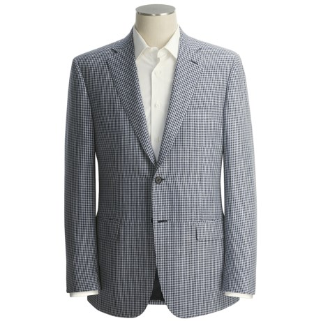 Isaia Micro-Check Sport Coat - Wool-Linen-Silk (For Men)