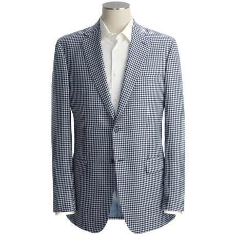 Isaia Mini-Check Sport Coat - Linen-Silk-Cotton (For Men)