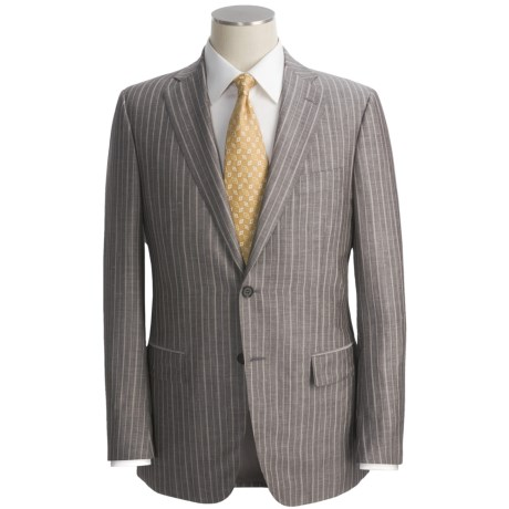Isaia Wide Track Stripe Suit - Wool-Linen-Silk (For Men)