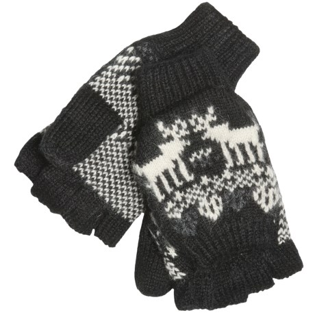 Woolrich Reindeer Pop-Top Mittens - Jacquard Wool Blend (For Women)
