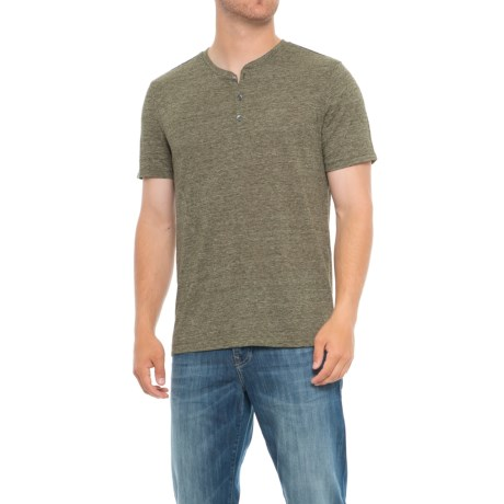 Specially made Heathered Henley Shirt - Short Sleeve (For Tall Men)