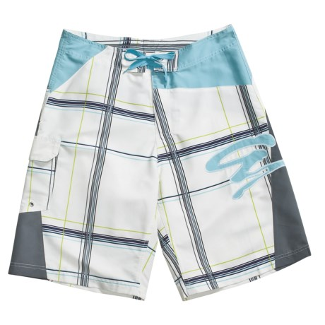 Grayson Large Check Board Shorts (For Men)