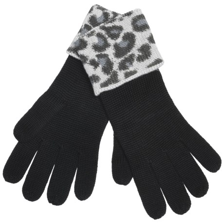 Zazou Animal-Print Cuff Gloves (For Women)