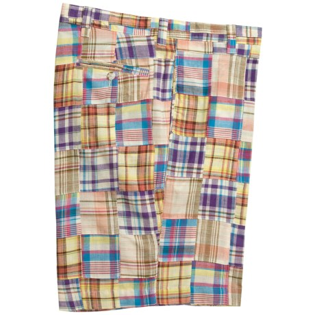 Charleston Khaki by Berle Patch Madras Shorts - Flat Front (For Men)