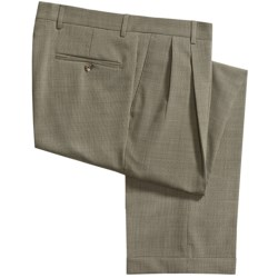 Barry Bricken Tic Weave Stretch Wool Dress Pants - Pleated, Cuffed (For Men)
