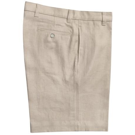 Vintage 1946 Linen Shorts - Flat Front (For Men)