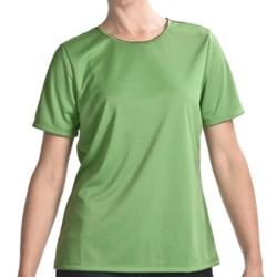 Satin Trim Crew Neck T-Shirt - Short Sleeve (For Women)