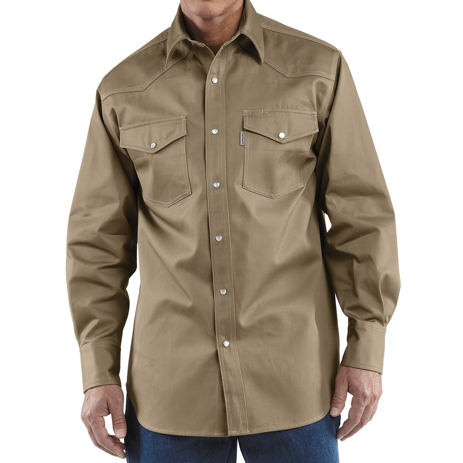 Carhartt snap front twill work shirt for tall men 4903m for Tall mens work shirts
