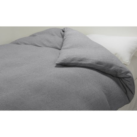 Coyuchi Khadi Textured Diamond Pattern Duvet Cover - King, Organic Cotton