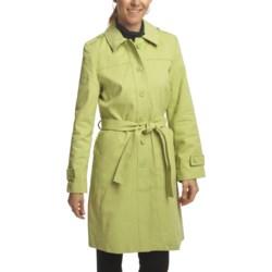 Black Rivet Brushed Twill Trench Coat (For Women)
