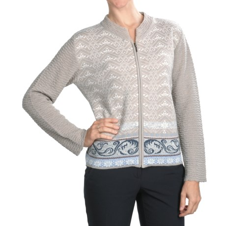 Skadi Baby Alpaca Zip Cardigan Sweater - Textured Collar and Sleeves (For Women)