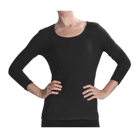 August Silk Ruched Boat Neck Shirt - Stretch, 3/4 Sleeve (For Women)