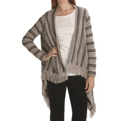 August Silk Drape Sweater with Fringe (For Women)