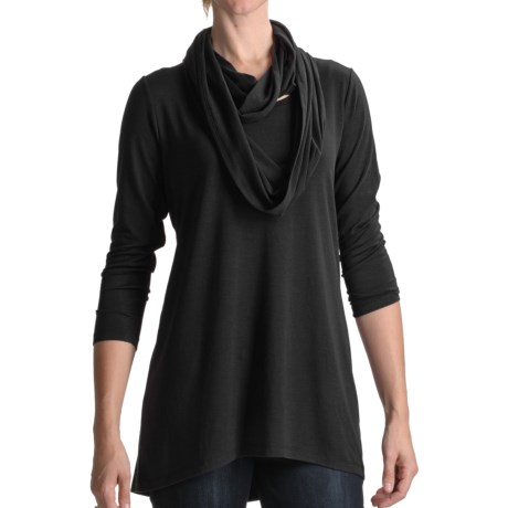 August Silk Knit Shirt with Infinity Scarf - 3/4 Sleeve (For Women)