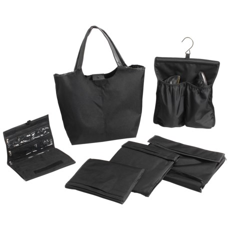 Lori Greiner Travel Tote Bag with 5-Piece Organizer Set