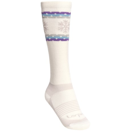 Lorpen Snowflake Ski Socks - Merino Wool, Lightweight, Over-the-Calf (For Women)