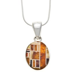 "Vessel Amber Mosaic Pendant Necklace - 18"" Snake Chain"