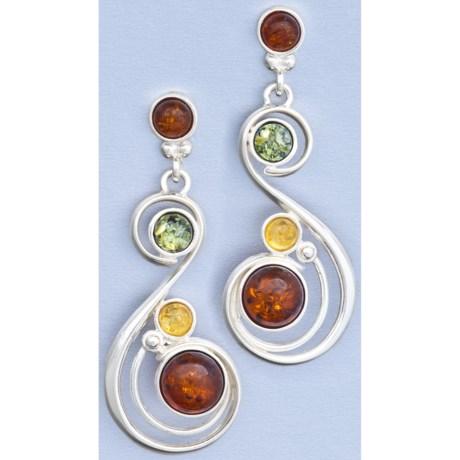 Vessel Multicolor Amber Swirl Post Earrings